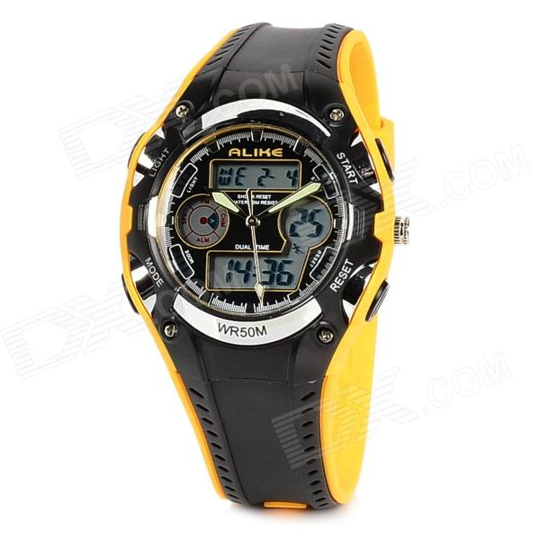 ALIKE AK9132  Sports 50m Water Resistant Quartz Diving Wrist Watch - Black + Yellow - DXSport Watches<br>Brand ALIKE Model AK9132 Quantity 1 Piece Color Black + yellow Item Shape Round Dial Window Material Acrylic resin Casing Material Plastic Band Material PU Clasp Stainless steel Suitable for Adults Gender Unisex Style Wrist Watch Type Sport Watches Display Analog + Digital Backlight 3s EL light Movement Quartz Display Format 12/24 hour time format Water Resistant 50m Water Resistant Dial Diameter 29 mm Dial Thickness 13 mm Band Length 255 mm Band Width 20 mm Battery 1 x MAXELL CR2016 + 1 x SR626SW Features Dual time zone display; With hour minute second month day &amp; week display; Hourly chime; Alarm clock; Snooze function; Stopwatch (1/100s); 12/24 hours time formats; Water resistant &amp; anti-shock functions Packing List 1 x Diving watch<br>