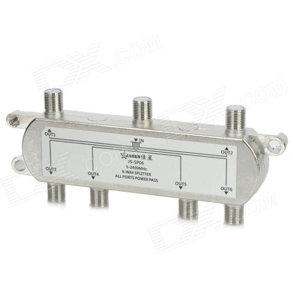 Jasen_JS-SP06_6-Way_Splitter_for_SATV/CATV TV Receiver - Silver