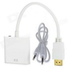 HDMI Male to VGA Female / 3.5mm Audio Jack Adapter Cable w/ 3.5mm Audio Male to Male Cable - White