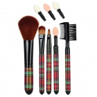 Fen Ling 1404 6-in-1 Portable Beauty Cosmetic Makeup Brushes Set - Brown + Black + Green + Red