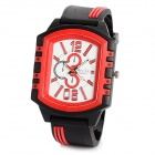 Sports Quartz Wrist Watch w/ Rubber Band - Red + Black + White (1 x 377)
