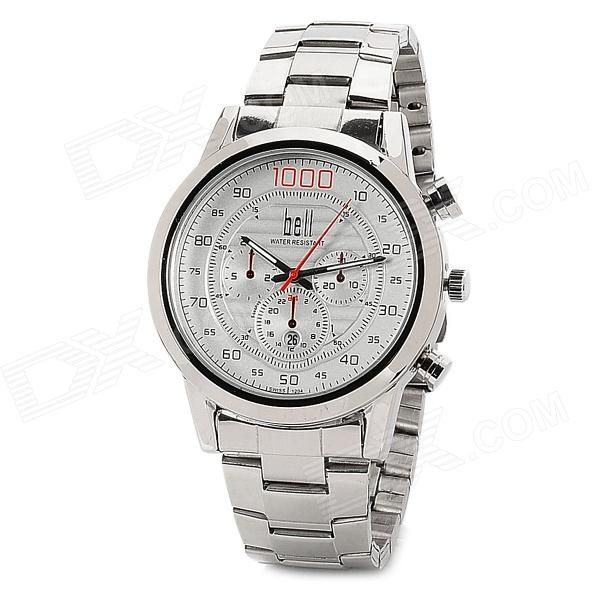 Stylish Steel Band Quartz Wrist Watch w/ Calendar - Silver (1 x 377) stylish bracelet band quartz wrist watch golden silver 1 x 377