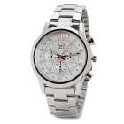 Stylish Steel Band Quartz Wrist Watch w/ Calendar - Silver (1 x 377)