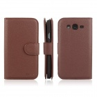 ENKAY Protective PU Leather Case Cover w/ Stand for Samsung Galaxy Grand Duos / i9082 - Brown