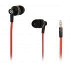 BIDENUO G350 In-ear Earphones w/ Microphone - Black + Red (3.5mm Plug / 114cm-Cable)