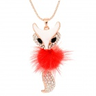 Stylish Charming Crystal-inlaid Fox Shaped Pendant Zinc Alloy Necklace - Golden + Red + White