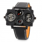 Super Hip-hop Fashion Oversized 4-Dial PU Band Quartz Analogue Wrist Watch for Men - Black