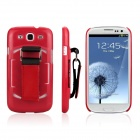 ENKAY Protective Plastic Back Case w/ Belt for Samsung Galaxy S III / i9300 - Red