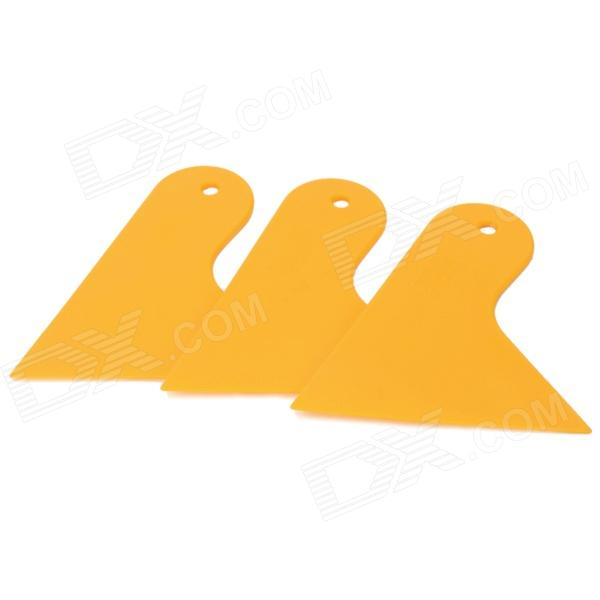 02040009 DIY Small Car Cleaning / Film Sticking Tool Squeegees / Scrapers - Yellow (3 PCS)