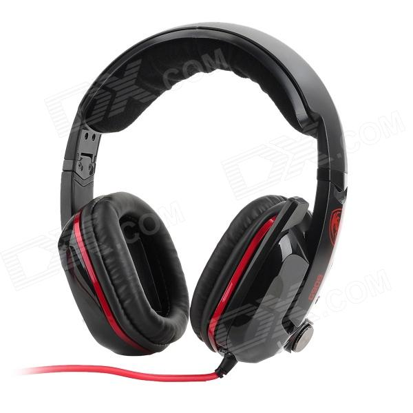 Somic G909 USB 7.1-Channel Vibration Sound Effect Game Headphone w/ Microphone - Black + Red (212cm) chenyun cy 726 usb headband headphone w microphone control red black