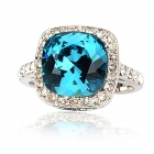 KCCHSTAR Elegant 18K Blue Square Crystal Rings - Silver + Blue