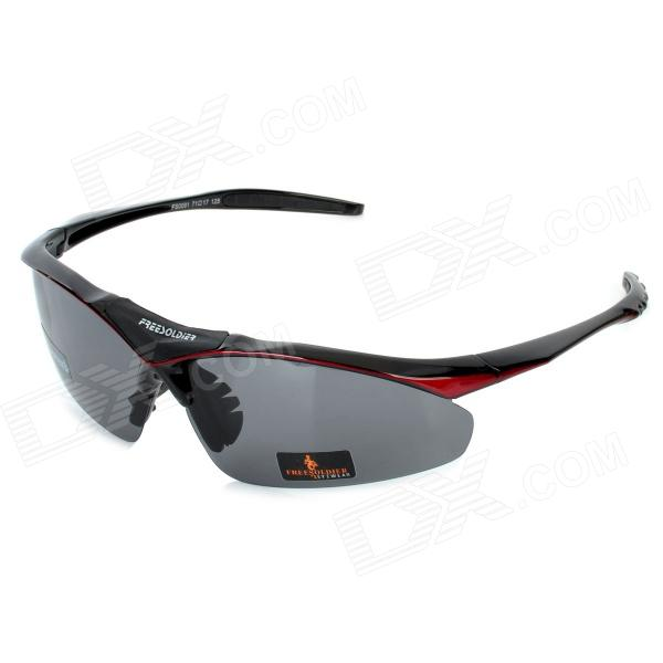Free Soldier zyb0091k Outdoor Sports UV400 Polarized TR90 Frame PC Lens Sunglasses - Red + Black