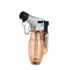 FS026 1300 Centigrade Windproof Blue Flame Butane Jet Torch Lighter - Translucent Orange + Silver