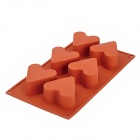 Heart Shape Silicone 6-Lattice Cake / Ice Cube / Jelly Pudding Tray Mold - Maroon