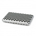 Stylish Stainless Steel + PU Leather Cigarette Case - Black + White + Silver