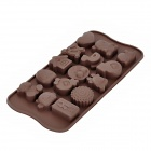Cute Different Shape Silicone 15-Lattice Cake / Ice Cube Tray Mold - Coffee