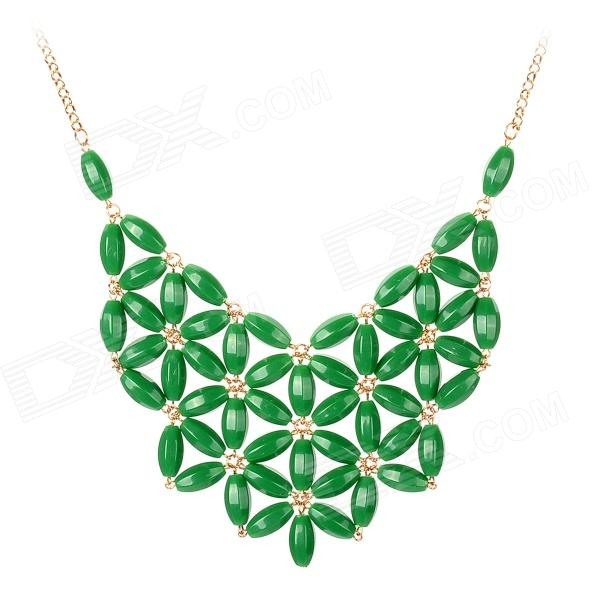 Graceful Fan-shaped Acrylic Beads Necklace - Green + Golden gorgeous 60cm length golden thick braided wheat chain necklace for men