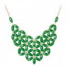 Graceful Fan-shaped Acrylic Beads Necklace - Green + Golden