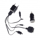 Feder FT-K01 USB Powered Car Charger / AC Charger + 4-in-1 USB Data Cable for iPhone + More -Black
