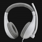 Senic ST-2688 Stylish Game Headphone w/ Microphone - White + Grey (3.5mm Plug / 200cm)