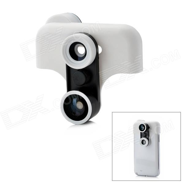 Fish Eye + Wide Angle + Macro Set w/ Half Case for Samsung Galaxy Note 2 / N7100 - White + Black momax x lens 4 in 1 120 degree wide angle 15x macro lens 180 degree fisheye cpl filter for smartphone tablet silver