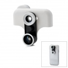 Fish Eye + Wide Angle + Macro Set w/ Half Case for Samsung Galaxy Note 2 / N7100 - White + Black
