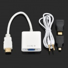 3-in-1 Micro HDMI/Mini HDMI/HDMI to VGA+3.5mm AV Adapter - White+Black