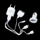 Feder FT-K01 USB Powered Car Charger / AC Charger + 4-in-1 USB Data Cable for iPhone + More - White