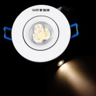 Resch Dayton 3W 3000K 285-~315lm 3-LED Warm White Light Ceiling Lamp -White + Silver  (AC 85~245V)