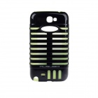 MUSUBO Protective Plastic + Silicone Luminous Back Case for Samsung 7100 - Black + Fluorescent Green