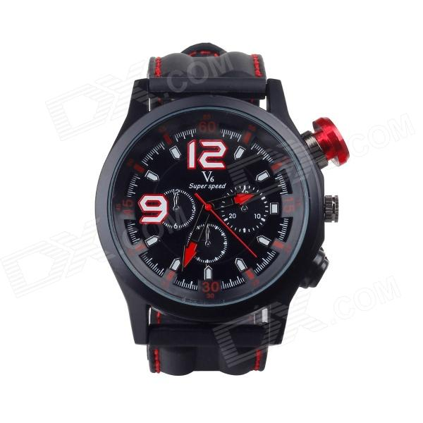 SuperSpeed V0144-BR Men's Stainless Steel Quartz Analog Wrist Watch - Black + Red fashion stainless steel red yellow led water resistant wrist watch black 2 x cr2016