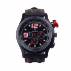 SuperSpeed V0144-BR Men's Stainless Steel Quartz Analog Wrist Watch - Black + Red