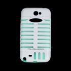 MUSUBO Protective Plastic + Silicone Luminous Back Case for Samsung 7100 - White + Light Green