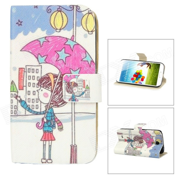Girl Pattern Protective PU Leather Case Stand for Samsung Galaxy S4 i9500 - Multicolored protective cute spots pattern back case for samsung galaxy s4 i9500 multicolored