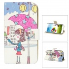 Girl Pattern Protective PU Leather Case Stand for Samsung Galaxy S4 i9500 - Multicolored