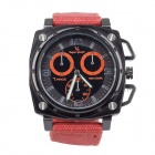 SuperSpeed V0173-O Square Men's Stainless Steel Linen Quartz Analog Wrist Watch - Orange + Black