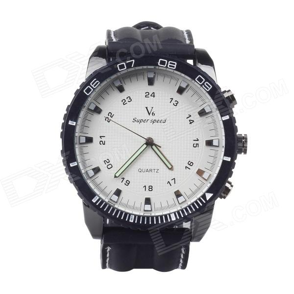 Super Speed V0166-W Men's Stainless Steel Silicone Quartz Analog Wrist Watch - White + Black ljxh standard type water heating element electric tube heater for open bucket 304 stainless steel copper pipe 220v 2kw 2 5kw 3kw