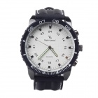 Super Speed V0166-W Men's Stainless Steel Silicone Quartz Analog Wrist Watch - White + Black