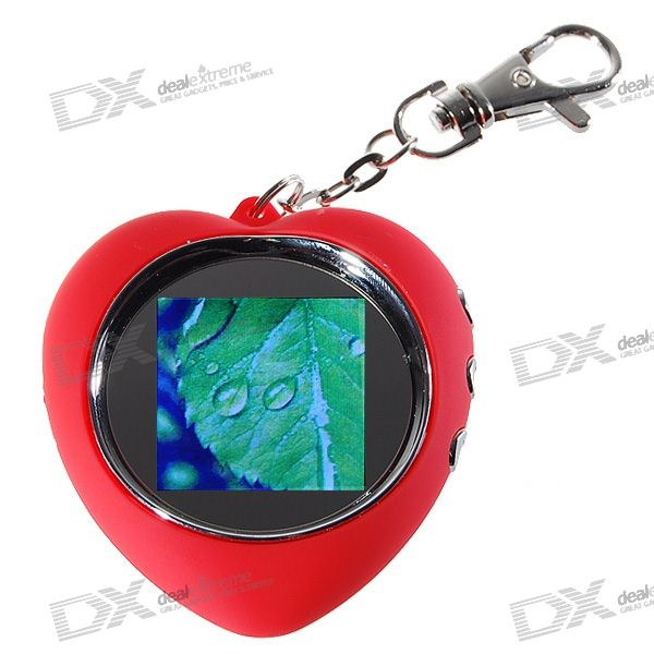 "1.5"" LCD Heart Shaped Rechargeable Digital USB Photo Frame Keychain (58-Picture Memory Storage)"