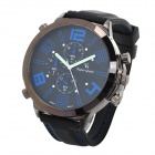 Super Speed ​​V0155-BL Edelstahl-Silikon-Band Herren Quarz Analog Wirst Watch - Schwarz + Blau