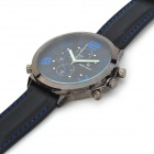Super Speed V0155-BL Stainless Steel Silicone Band Men's Quartz Analog Wirst Watch - Black + Blue