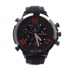 Super Speed ​​No.V0155-O Herren Edelstahl-Silikon-Quarz wrsit Watch - Schwarz + Orange