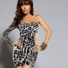 2656-2 Sexy One Sleeve Fold Cotton + Spandex Mini Dress for Women - Grey + Black (Size L)