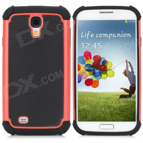 Cool Basketball Skin Pattern Silicone Protective Back Case for Samsung Galaxy S4 i9500 - Black + Red protective cute spots pattern back case for samsung galaxy s4 i9500 multicolored