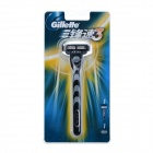 Gillette Handheld 3-Blade Razor w/ Blades Cartridges - Blue + White
