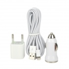 OCM-3 Car Charger + EU Plug Charger + Lightning 8-Pin Male to USB Male Cable for iPhone 5 - White