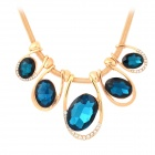 Shiny Oval Shape Crystal Pendant Snake Chain Style Necklace - Golden + Dark Blue