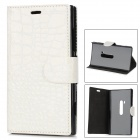 Crocodile Skin Style Protective  PU Leather Case for Nokia Lumia 920 - White