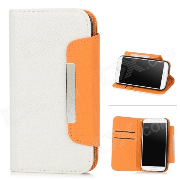 Simple Protective PU Leather Flip-Open Case for Samsung Galaxy S4 i9500 - White жираф дизайн кожа pu откидная крышка бумажника карты держатель чехол для samsung galaxy core prime g360