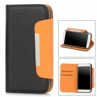 Protective PU Leather Case w/ Hand Strap for Samsung Galaxy S4 i9500 - Black